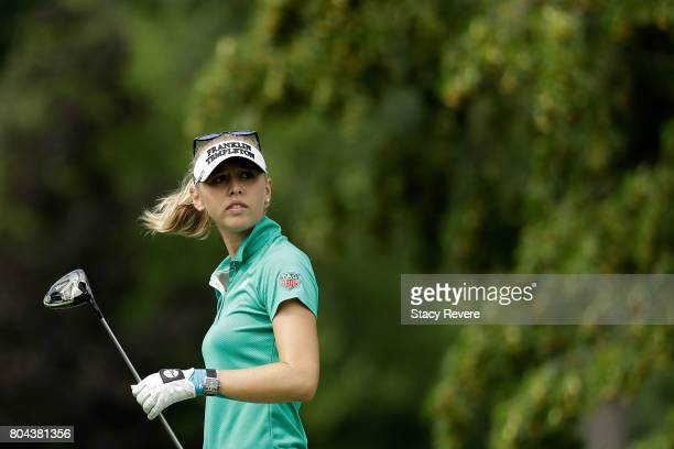 Jessica Korda watches her tee shot on the fifth hole during the second round of the 2017 KPMG PGA Championship at Olympia Fields on June 30 2017 in...