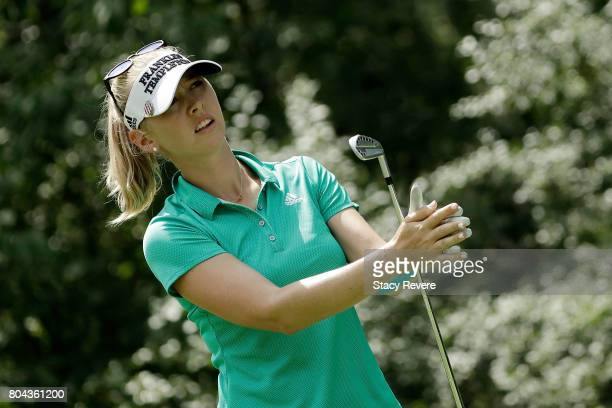 Jessica Korda watches her tee shot on the seventh hole during the second round of the 2017 KPMG PGA Championship at Olympia Fields on June 30 2017 in...