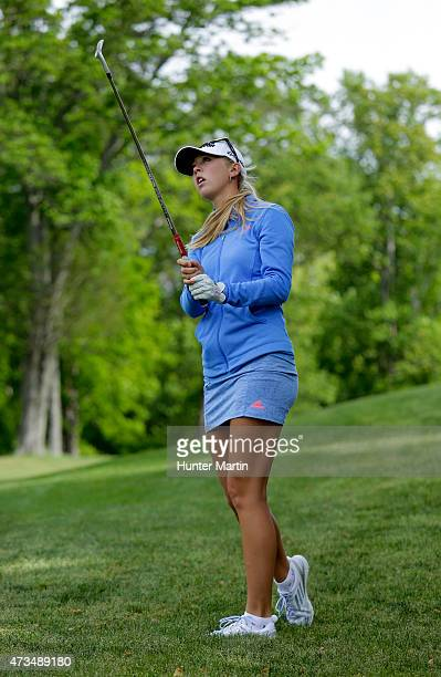Jessica Korda watches her third shot on the 15th hole during the second round of the Kingsmill Championship presented by JTBC on the River Course at...