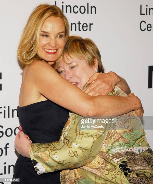 Jessica Lange and Kathy Bates during Jessica Lange Honored by the Film Society of Lincoln Center Green Room at Avery Fisher Hall in New York City New...