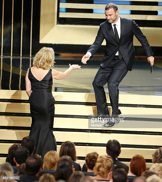 Jessica Lange and Liev Schreiber onstage the 66th Annual Primetime Emmy Awards held at Nokia Theatre LA Live on August 25 2014 in Los Angeles...