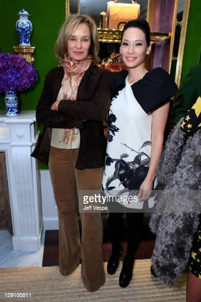 Jessica Lange and Lucy Liu attend the launch of 'Seventy Two' by Lucy Liu hosted by Tory Burch on October 12 2011 in New York City