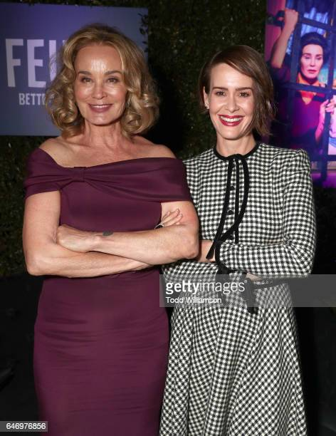 Jessica Lange and Sarah Paulson attend the after party for the premiere of FX Network's 'Feud Bette And Joan' at Grauman's Chinese Theatre on March 1...