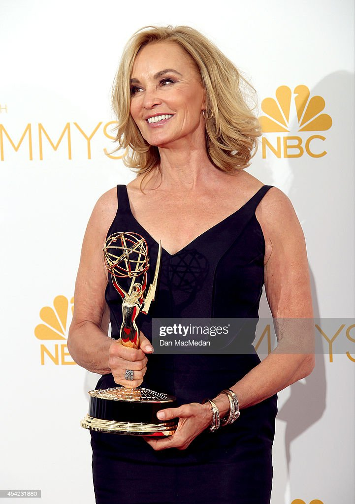 Jessica Lange poses in the photo room with her award for Outstanding Lead Actress in a Miniseries or Movie at the 66th Annual Primetime Emmy Awards at Nokia Theatre L.A. Live on August 25, 2014 in Los Angeles, California.