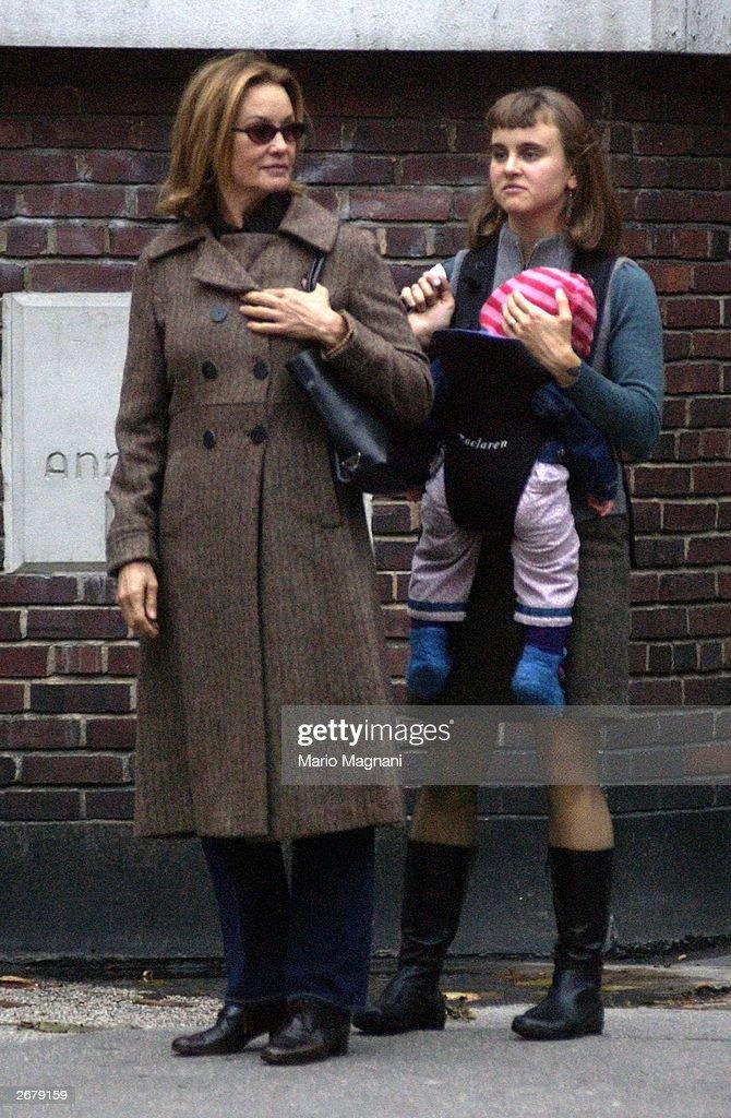 Jessica Lange walks with her daughter Alexandra and baby in the SoHo neighborhood of New York October 29, 2003.