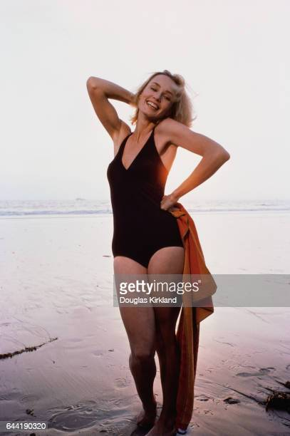 Jessica Lange Wearing a Black Swimsuit