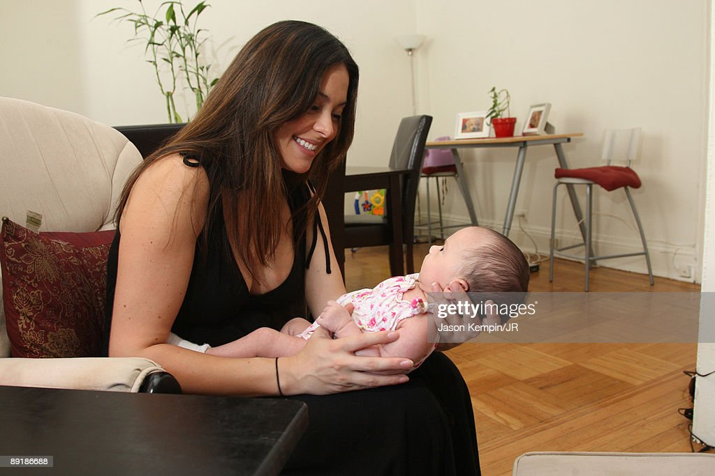 Jessica Leccia and daughter Ivy Lola Malloy during a photo session on July 20, 2009 in New York City.