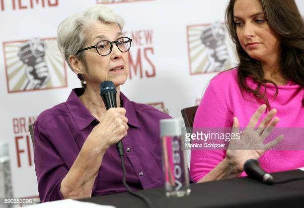 Jessica Leeds and Samantha Holvey speak during the press conference held by women accusing Trump of sexual harassment in NYC on December 11 2017 in...