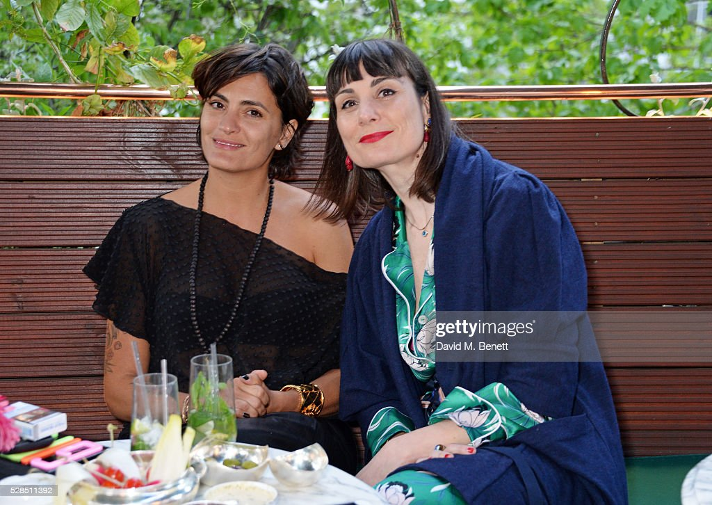 Jessica Lemarie Pires (L) and Maria Kastani attend a private dinner hosted by Rodial founder Maria Hatzistefanis & Bay Garnett at Casa Cruz on May 5, 2016 in London, England.