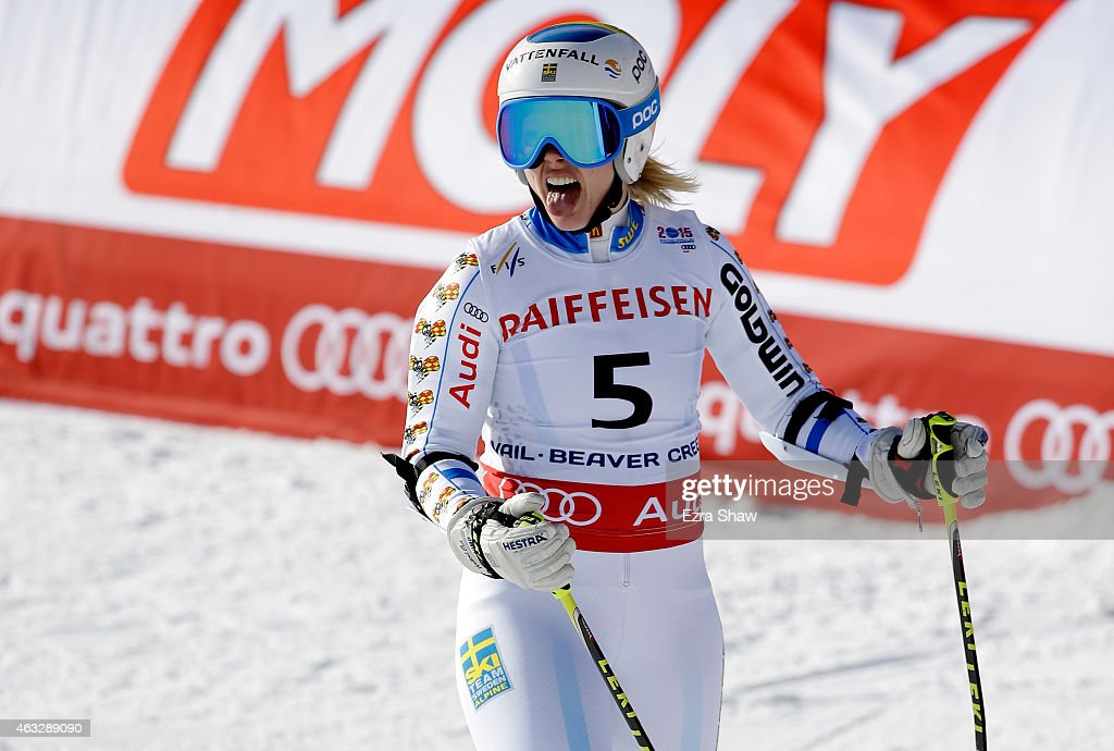 <a gi-track='captionPersonalityLinkClicked' href=/galleries/search?phrase=Jessica+Lindell-Vikarby&family=editorial&specificpeople=722573 ng-click='$event.stopPropagation()'>Jessica Lindell-Vikarby</a> of Sweden reacts after crossing the finish of the Ladies' Giant Slalom in Red Tail Stadium on Day 11 of the 2015 FIS Alpine World Ski Championships on February 12, 2015 in Beaver Creek, Colorado.