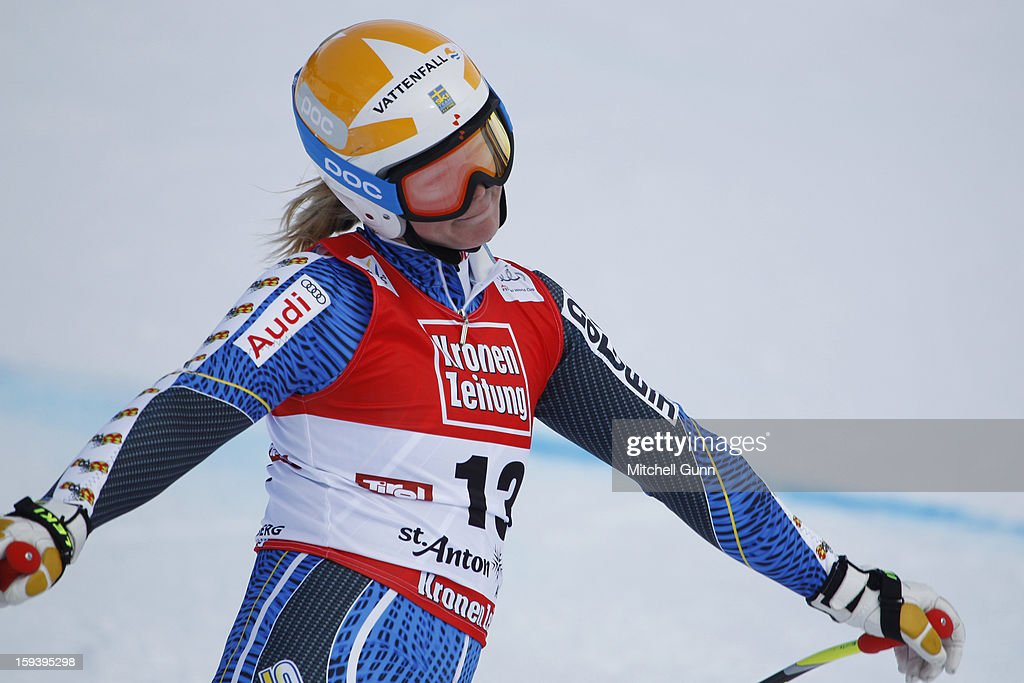 <a gi-track='captionPersonalityLinkClicked' href=/galleries/search?phrase=Jessica+Lindell-Vikarby&family=editorial&specificpeople=722573 ng-click='$event.stopPropagation()'>Jessica Lindell-Vikarby</a> of Sweden reacts in the finish area after competing in the Audi FIS Alpine Ski World Cup Super Giant Slalom (SuperG) race on January 13, 2013 in St Anton, Austria.
