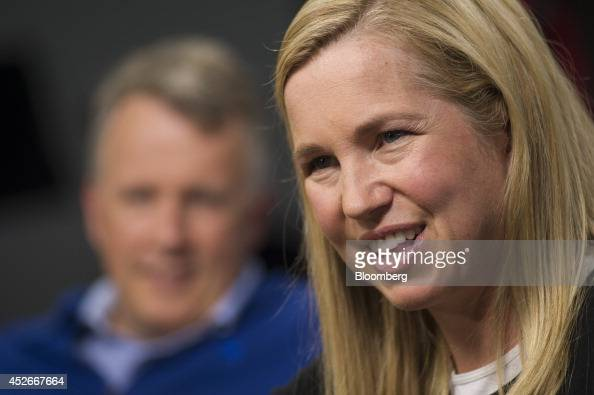 Jessica Livingston cofounder of Y Combinator right speaks as fellow cofounder Paul Graham listens during a Studio 10 interview on Bloomberg...
