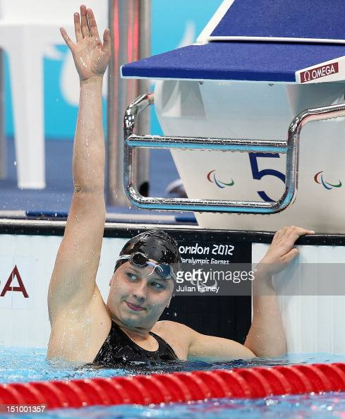 Jessica Long of the United States celebrates after winning gold in the Women's 100m Butterfly S8 final on day 1 of the London 2012 Paralympic Games...