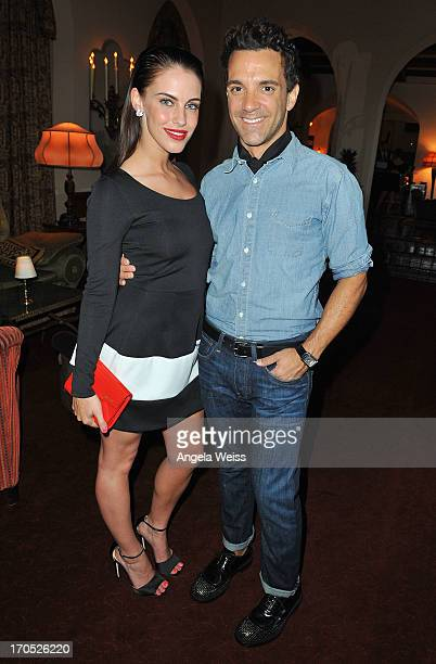 Jessica Lowndes and George Kotsiopoulos attend Lucky Brand's Measure of Style Dinner at Chateau Marmont on June 13 2013 in Los Angeles California