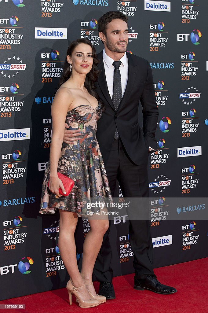 Jessica Lowndes and Thom Evans attend the BT Sports Industry awards at Battersea Evolution on May 2, 2013 in London, England.