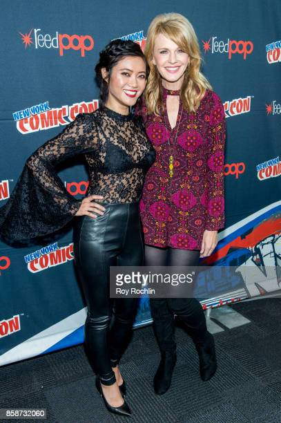 Jessica Lu and Kathryn Morris attend the Reverie press room during 2017 New York Comic Con Day 3 on October 7 2017 in New York City