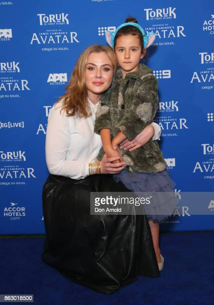 Jessica Marais and daughter Scout Edie Stewart arrive ahead of TORUK The First Flight by Cirque du Soleil at Qudos Bank Arena on October 19 2017 in...