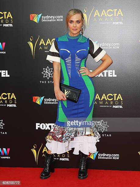 Jessica Marais arrives ahead of the 6th AACTA Awards at The Star on December 7 2016 in Sydney Australia