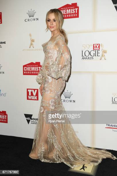 Jessica Marais arrives at the 59th Annual Logie Awards at Crown Palladium on April 23 2017 in Melbourne Australia