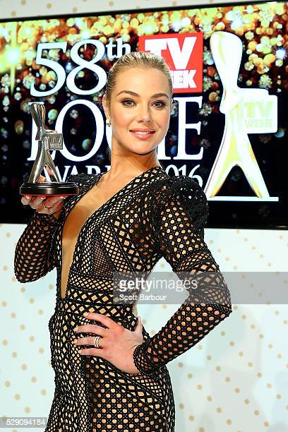 Jessica Marais poses with the Silver Logie Award for Best Actress 'Love Child' during the 58th Annual Logie Awards at Crown Palladium on May 8 2016...