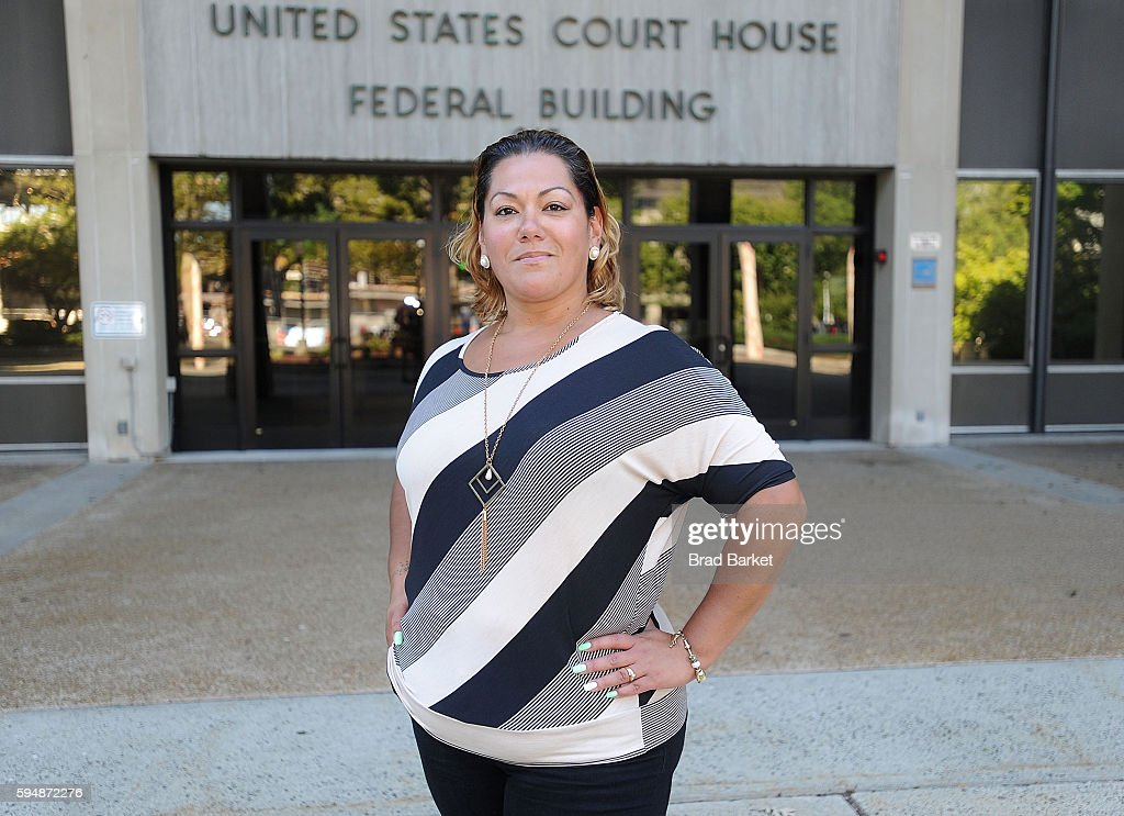 Jessica Martinez lead plaintiff in Martinez v Malloy poses for a photo outside the US District Court for the District of Connecticut on August 24...