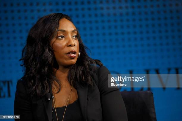 Jessica Matthews chief executive officer of Uncharted Play Inc speaks during the Wall Street Journal DLive global technology conference in Laguna...