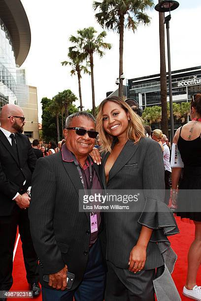 Jessica Mauboy and her father Ferdy Mauboy arrive ahead of the ARIA Awards 2015 at The Star on November 26 2015 in Sydney Australia