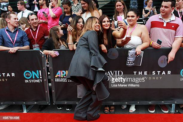 Jessica Mauboy greets fans ahead of the ARIA Awards 2015 at The Star on November 26 2015 in Sydney Australia
