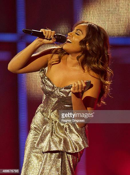 Jessica Mauboy of Australia performs at a dress rehearsal the day before the second semi final of the Eurovision Song Contest on May 7 2014 in...