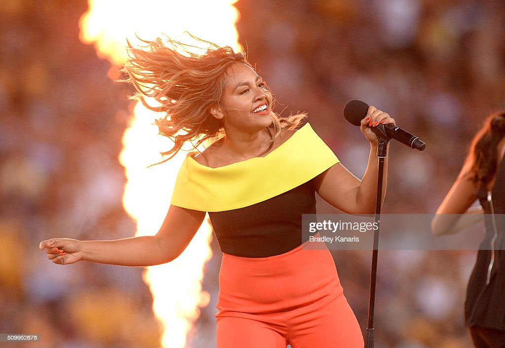 <a gi-track='captionPersonalityLinkClicked' href=/galleries/search?phrase=Jessica+Mauboy&family=editorial&specificpeople=3911912 ng-click='$event.stopPropagation()'>Jessica Mauboy</a> performs before the NRL match between the Indigenous All-Stars and the World All-Stars at Suncorp Stadium on February 13, 2016 in Brisbane, Australia.