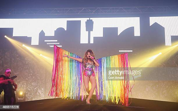 Jessica Mauboy performs during Mardi Gras Party at the Entertainment Quarter on March 7 2015 in Sydney Australia