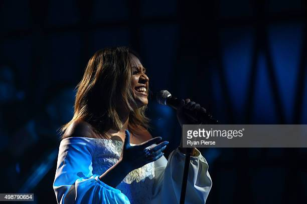 Jessica Mauboy performs during the 29th Annual ARIA Awards 2015 at The Star on November 26 2015 in Sydney Australia