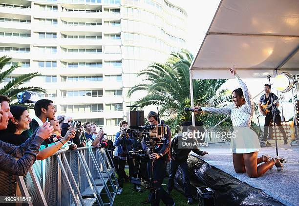 Jessica Mauboy performs live during a 'You Beauty' campaign consumer event prior to a world record attempt at the longest selfie at The Botanical...
