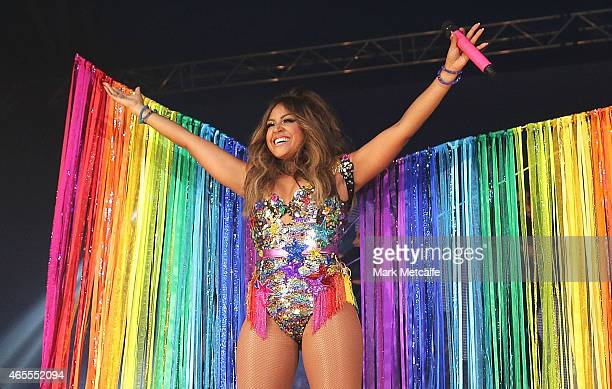 Jessica Mauboy performs on stage during Mardi Gras Party at the Entertainment Quarter on March 7 2015 in Sydney Australia