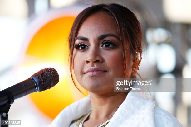Jessica Mauboy performs on stage prior to a world record attempt at the longest selfie during a 'You Beauty' campaign consumer event at the Botanical...
