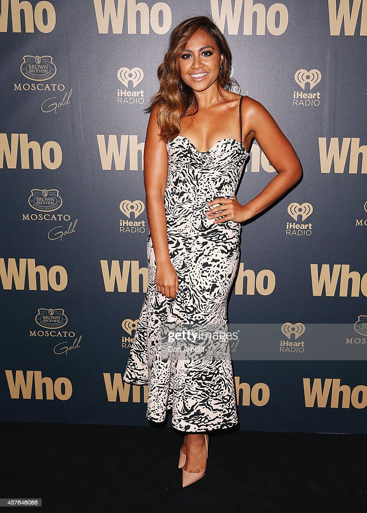 Jessica Mauboy poses at WHO's sexiest people party 2014 at Fox Studios on October 22 2014 in Sydney Australia