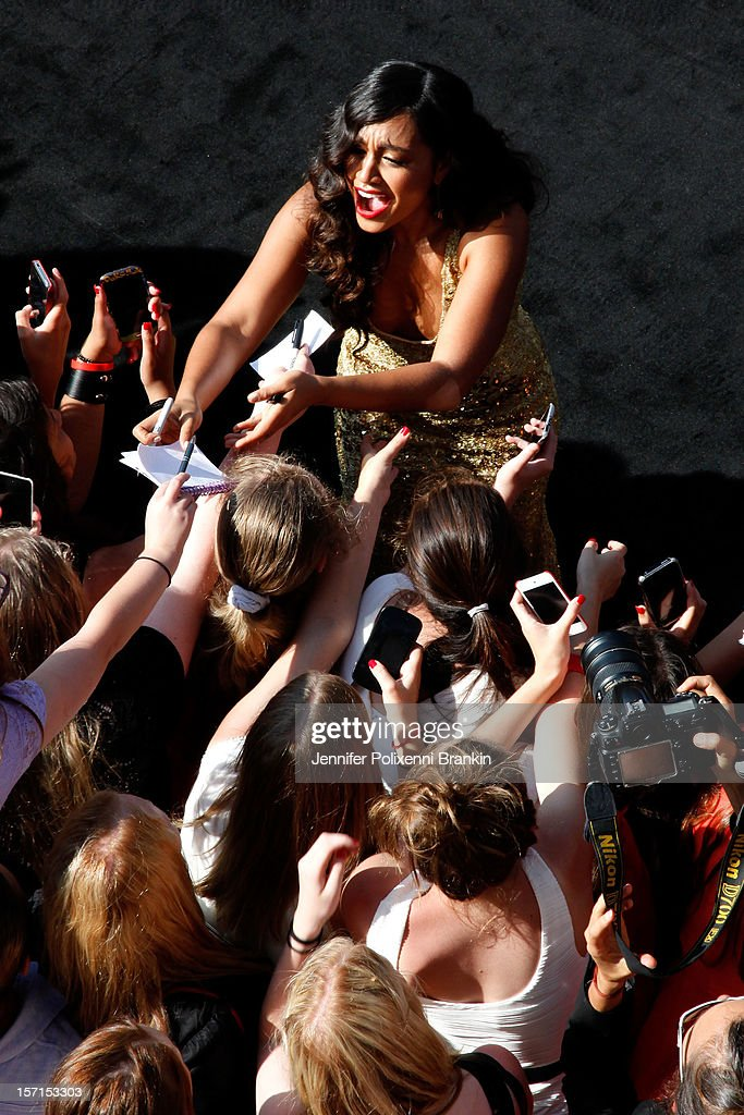 Jessica Mauboy poses with fans at the 26th Annual ARIA Awards 2012 at the Sydney Entertainment Centre on November 29, 2012 in Sydney, Australia.