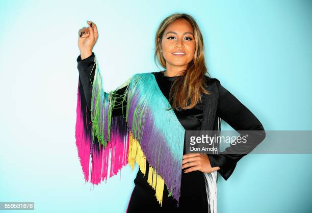 Jessica Mauboy posesat the 31st Annual ARIA Nominations Event at Art Gallery Of NSW on October 10 2017 in Sydney Australia