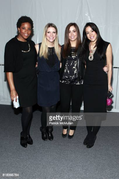 Jessica Mays Lyndsey Hefer Meg Padberg and Nina Pinnella attend ELIE TAHARI Fall 2010 collection at Bryant Park Tents on February 16 2010 in New York...