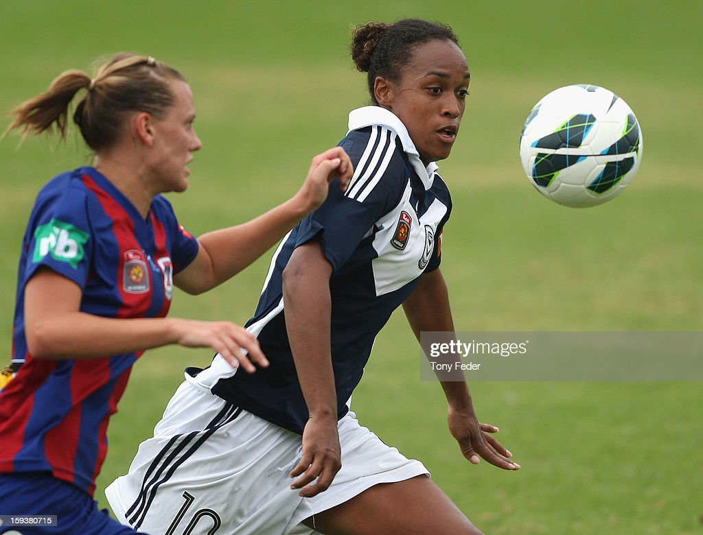 Jessica McDonald of Melbourne Victory contests the ball with Emily Van Egmond of the Newcastle Jets during the round 12 W-League match between the Newcastle Jets and the Melbourne Victory at Wanderers Oval on January 13, 2013 in Newcastle, Australia.