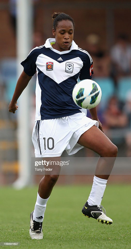Jessica McDonald of the Melbourne Victory controls the ball during the round 12 W-League match between the Newcastle Jets and the Melbourne Victory at Wanderers Oval on January 13, 2013 in Newcastle, Australia.