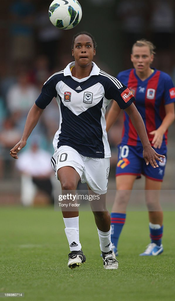 Jessica McDonald of the Melbourne Victory controls the ball in front of Emily Van Egmond of the Newcastle Jets during the round 12 W-League match between the Newcastle Jets and the Melbourne Victory at Wanderers Oval on January 13, 2013 in Newcastle, Australia.