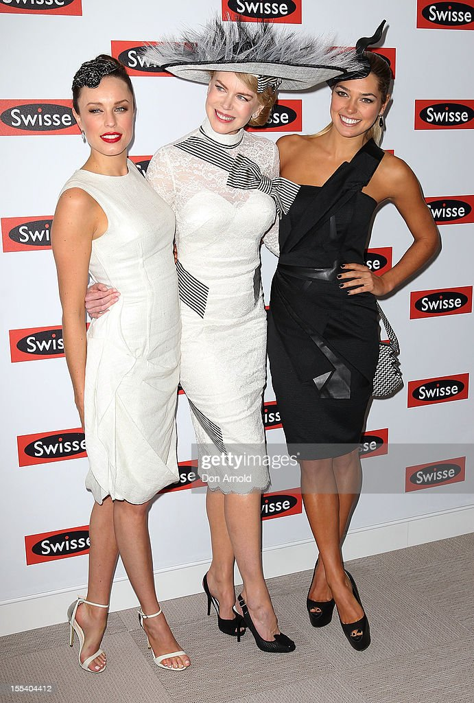 Jessica McNamee Nicole Kidman and Ashley Hart attend the Swisse marquee on Derby Day at Flemington Racecourse on November 3 2012 in Melbourne...
