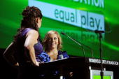 Jessica Mendoza and Shawn Johnson speak onstage during the 30th Annual Salute To Women In Sports Awards at The Waldorf=Astoria on October 13 2009 in...