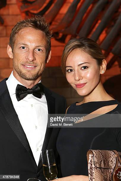 Jessica Michibata and Jenson Button at the inaugural Walkabout Foundation gala drinks by Boujis London at Natural History Museum on June 27 2015 in...