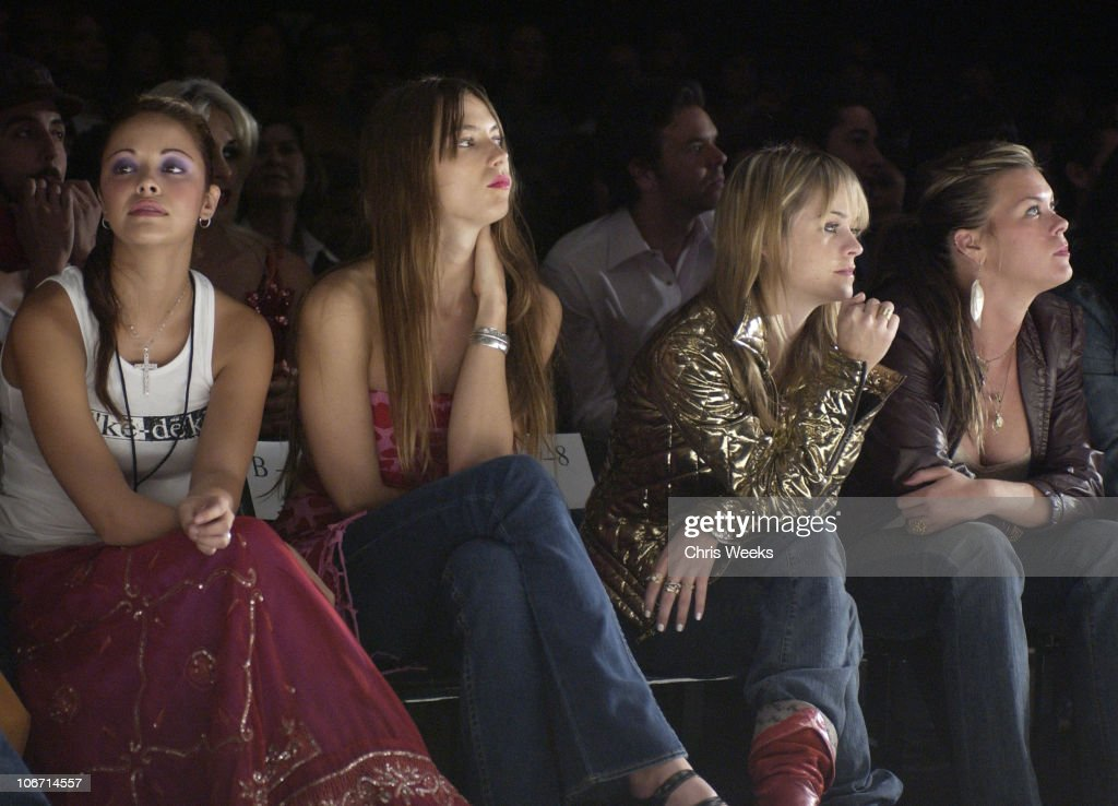 Jessica Miller and Taryn Manning during 2003 Smashbox Fashion Week Los Angeles House of Field Collection 2004 Front Row and Show at Smashbox in...