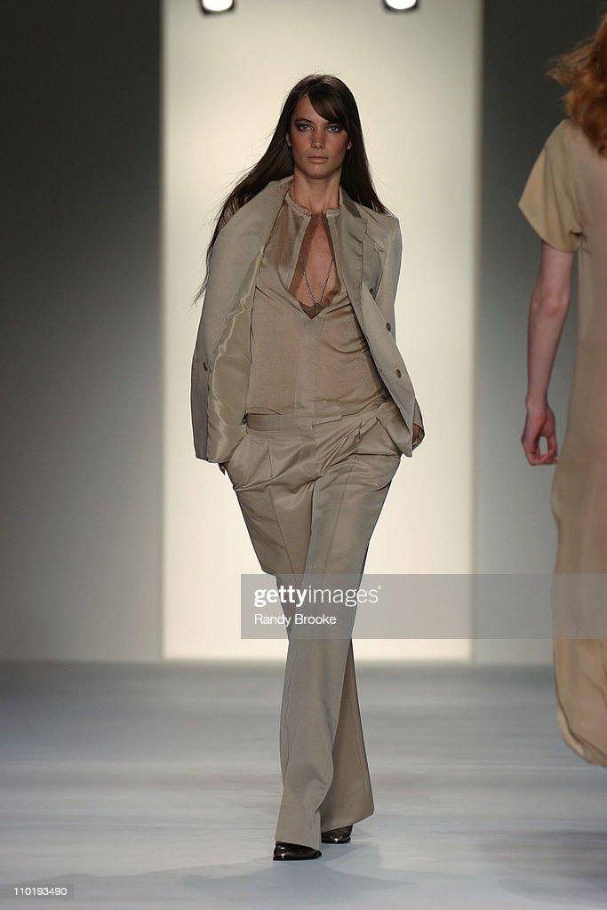Jessica Miller wearing Calvin Klein Fall 2004 during Olympus Fashion Week Fall 2004 Calvin Klein Runway at Milk Studios in New York City New York...