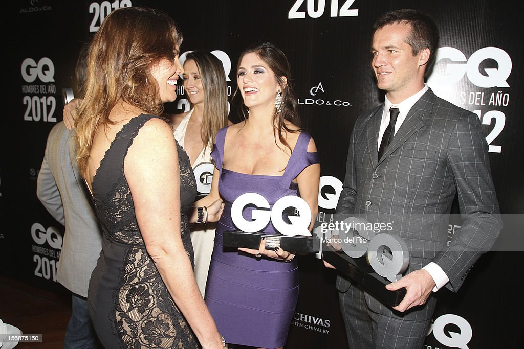 Jessica Newton, Anahi Gonzales and Nicolas Fuchs talk during the awards ceremony GQ Men of the Year 2012 at La Huaca Pucllana on November 23, 2012 in Lima, Peru.