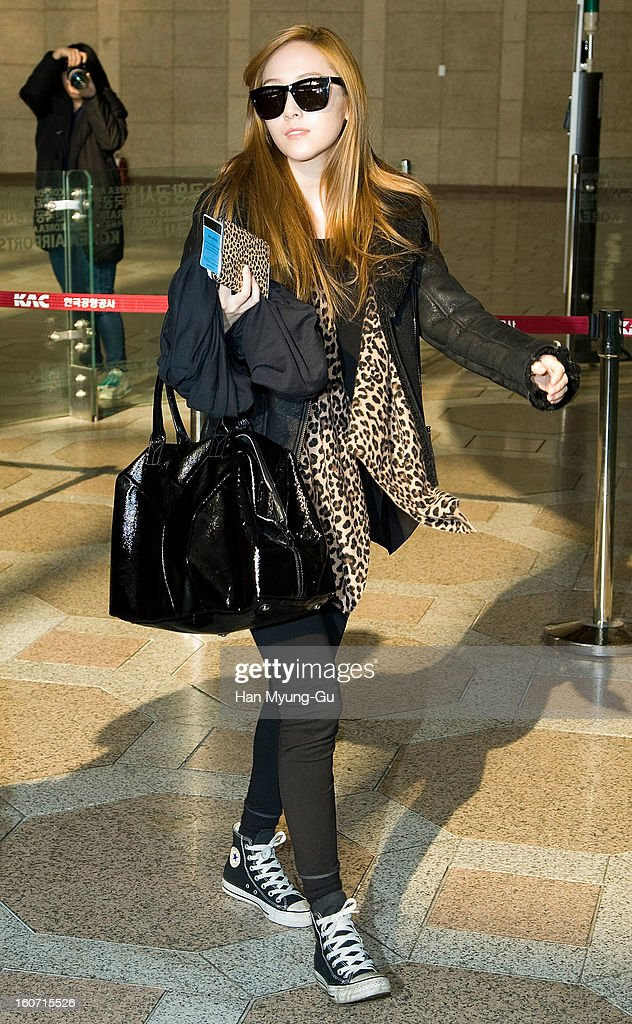 Jessica of South Korean girl group Girls' Generation is seen at Gimpo International Airport on February 4, 2013 in Seoul, South Korea.