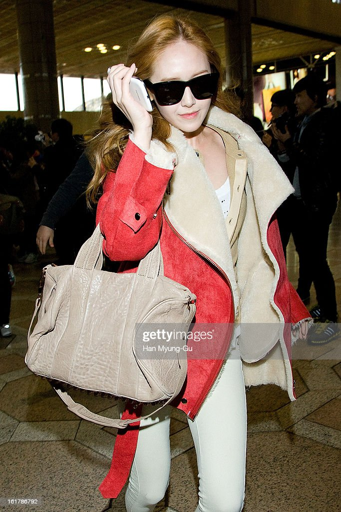 Jessica of South Korean girl group Girls' Generation is seen at Gimpo International Airport on February 15, 2013 in Seoul, South Korea.